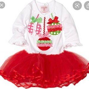 Mud Pie Ornament Red Tutu Dress